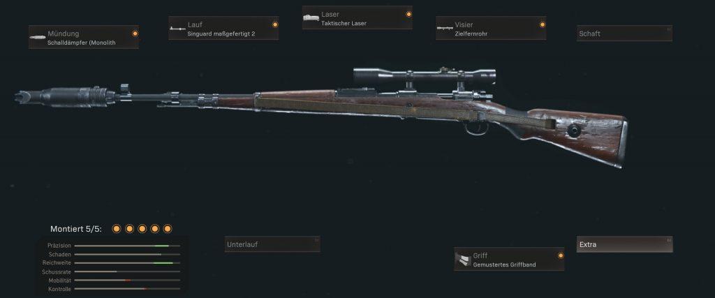 pistolas más populares de la zona de guerra de cod con configuraciones de enero de 2021 - kar 98k