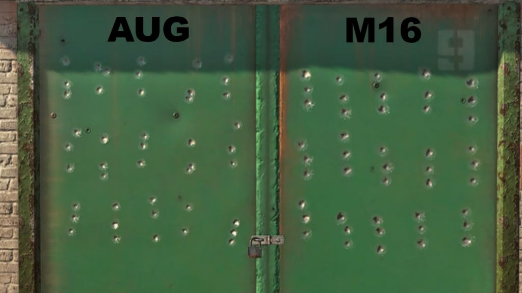comparación de retroceso de armas de zona de guerra de bacalao M16 AUG