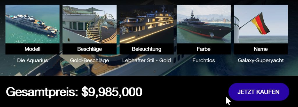 Resumen de precios caros de GTA Online Yacht