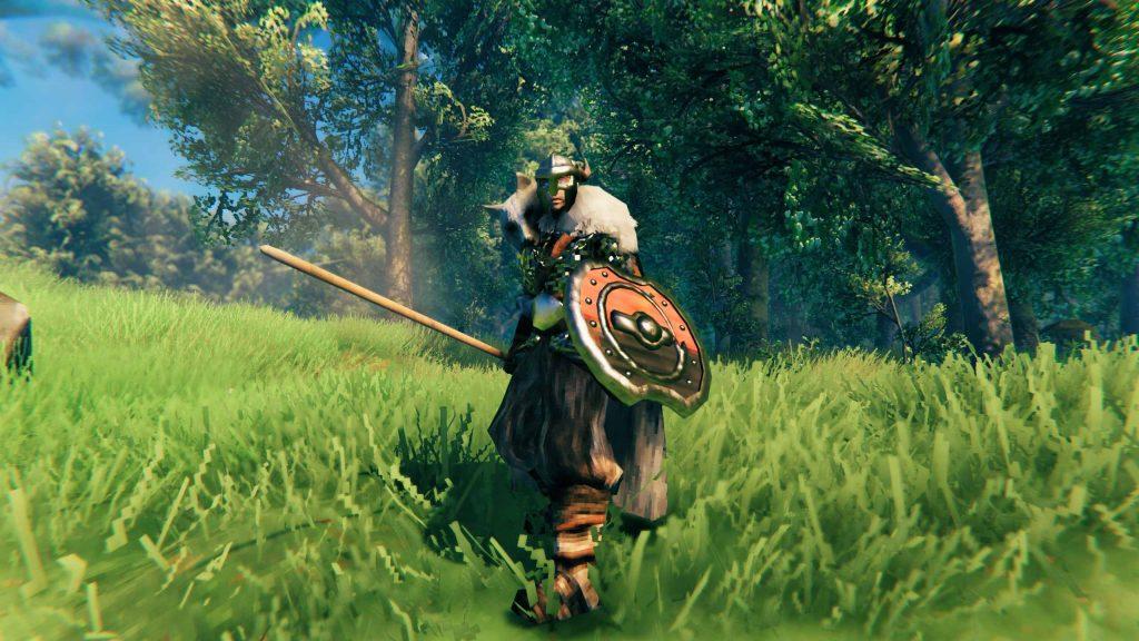 Guerrero de Valheim con escudo y lanza