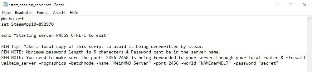 """Así es como se ve el """"start_headless_server.bat"""" fallido del servidor Valheim."""
