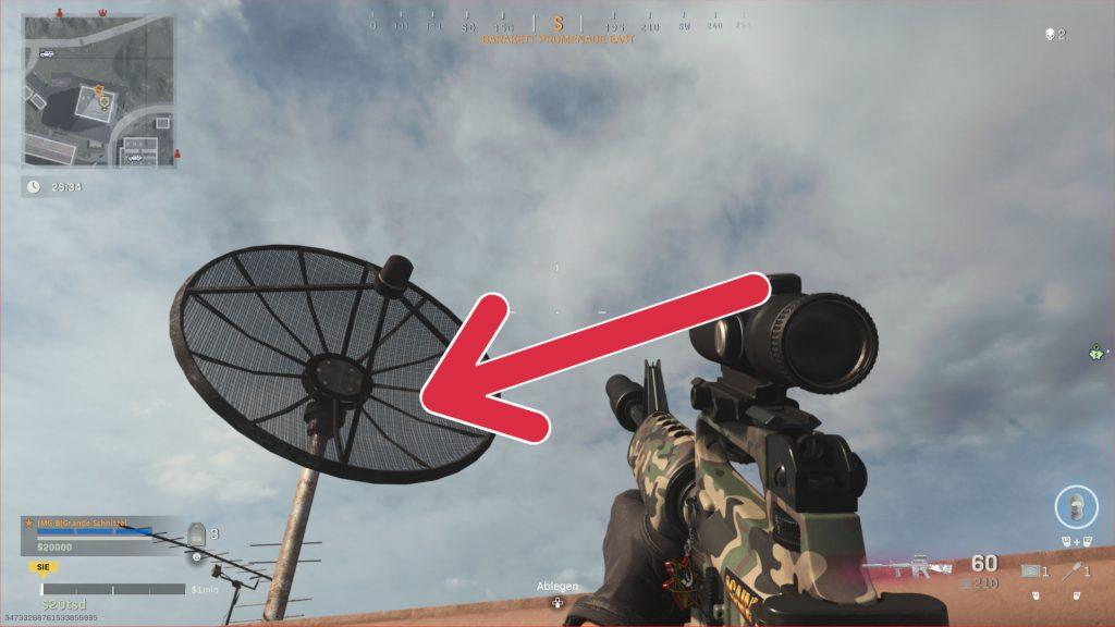 flecha de plato de satélite de zona de guerra de bacalao