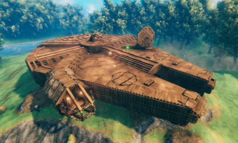 El jugador del golpe de vapor Valheim construye el barco más genial de Star Wars