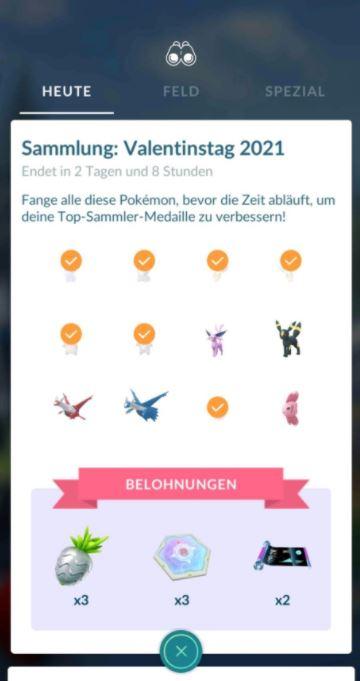 Desafío coleccionable de San Valentín Pokémon GO