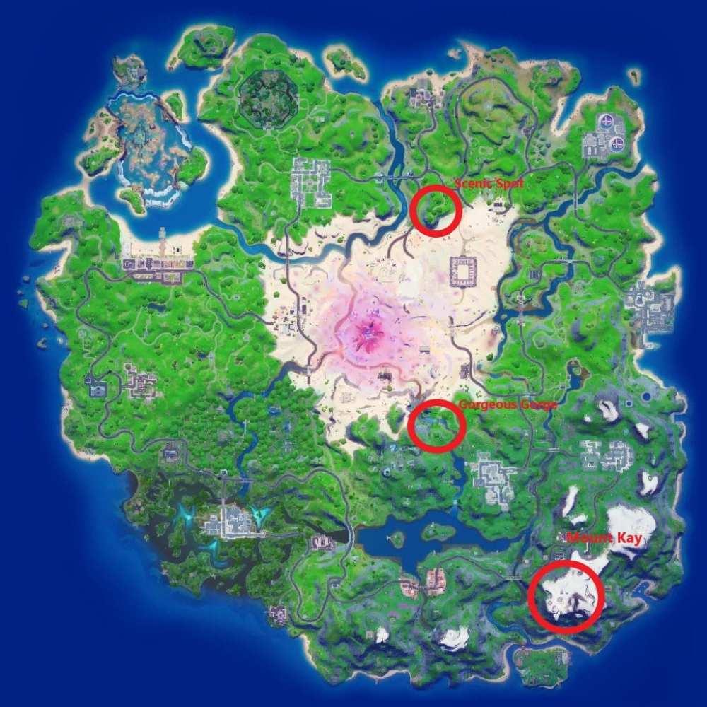 Visite el lugar escénico, la hermosa garganta y el monte Kay en Fortnite
