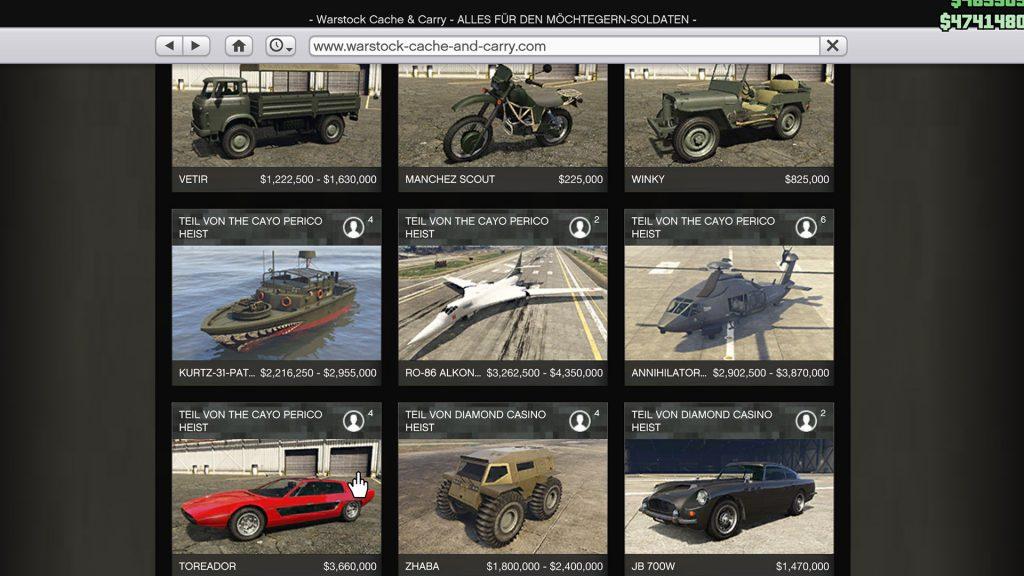 Contenido DLC Cayo Perico de GTA Online Warstock