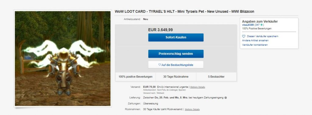 """WoW-Ebay-Tyrael """"class ="""" wp-image-650246 """"srcset ="""" http://dlprivateserver.com/wp-content/uploads/2021/02/La-mascota-mas-cara-de-WoW-cuesta-mas-de-3.000.jpg 1024w, https: / /images.mein-mmo.de/medien/2021/02/WoW-Ebay-Tyrael-300x111.jpg 300w, https://images.mein-mmo.de/medien/2021/02/WoW-Ebay-Tyrael- 150x56.jpg 150w, https://images.mein-mmo.de/medien/2021/02/WoW-Ebay-Tyrael-768x284.jpg 768w, https://images.mein-mmo.de/medien/2021/ 02 / WoW-Ebay-Tyrael.jpg 1197w """"tamaños ="""" (ancho máximo: 1024px) 100vw, 1024px """"> Una ganga en eBay: 3.650 € costarán Tyrael's Hilt en 2021.     <h2>La mascota solo existió 8.000 veces, hace 13 años</h2> <p><strong>¿Por qué esta tarjeta es tan cara?</strong> Esta mascota en particular solo existe 8.000 veces. Se emitió una tarjeta con el código del Mini-Tyrael a los visitantes del torneo """"World Wide Invitational 2008"""". Esa fue una serie de eventos que tuvieron lugar 4 veces: tres veces en Corea y una vez en Francia (vía wowhead).</p> <p>Las personas recibieron una tarjeta con códigos que podían raspar para canjear a la mascota en World of Warcraft.</p> <p>No hay otra forma de conseguir la mascota. Pero tienes que deshacerte de alguien que estuvo en este torneo hace 13 años o que de alguna manera se apoderó de esta tarjeta.</p> <p>    <img loading="""