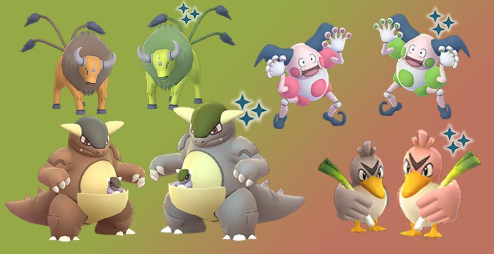Pokémon GO regional Shiny Tauros Kangama Pantimos Porenta