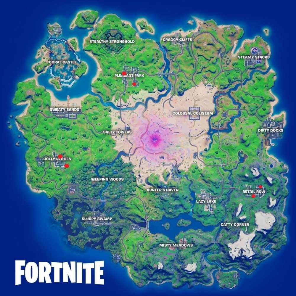 Mapa de ubicaciones de cajas de chocolate de Fortnite