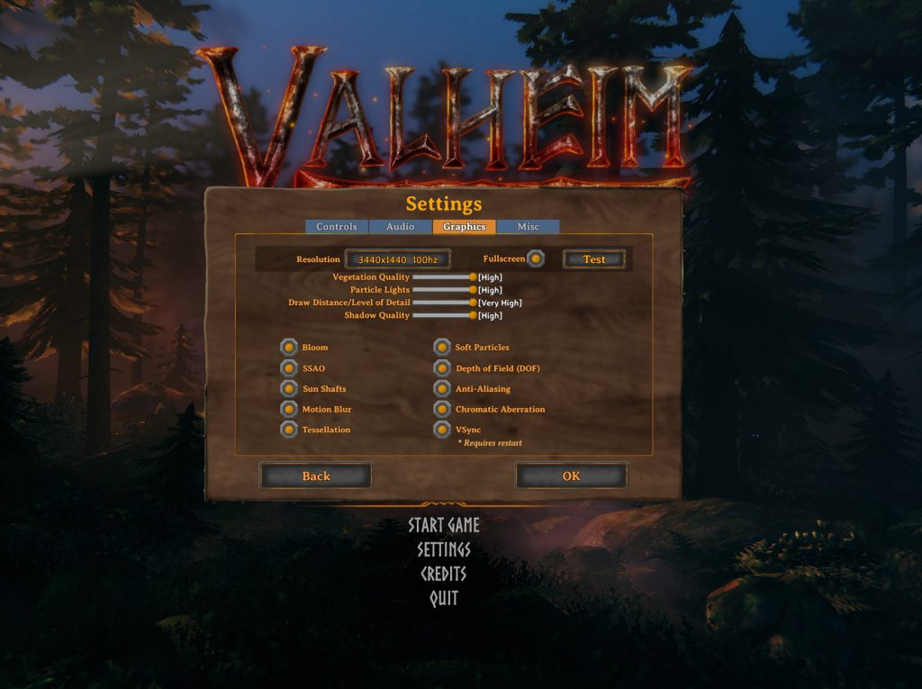 Configuración de gráficos de Valheim