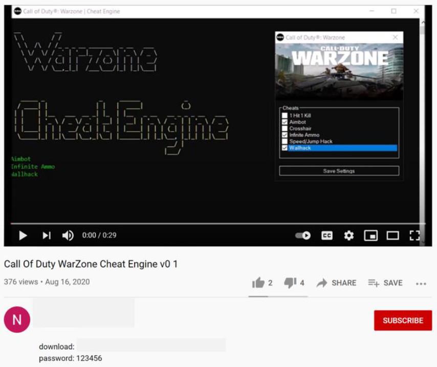 pirata informático de zona de guerra de bacalao truco falso en youtube