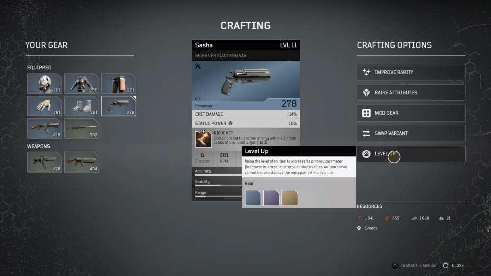 Outriders Cómo actualizar armas y armaduras