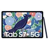 Samsung Galaxy Tab S7 +, tableta Android con lápiz, 5G, 3 cámaras, batería grande de 10.090 mAh, pantalla Super AMOLED de 12,4 pulgadas, 128 GB / 6 GB de RAM, tableta en azul