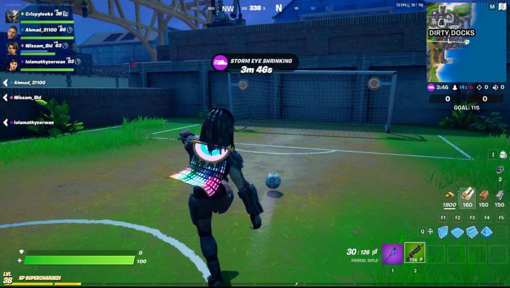 marcar un gol balón de fútbol fortnite