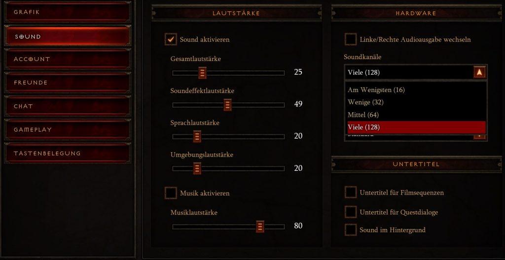 Configuración de sonido de Diablo 3