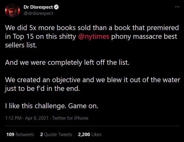 Dr Disrespect Tweet