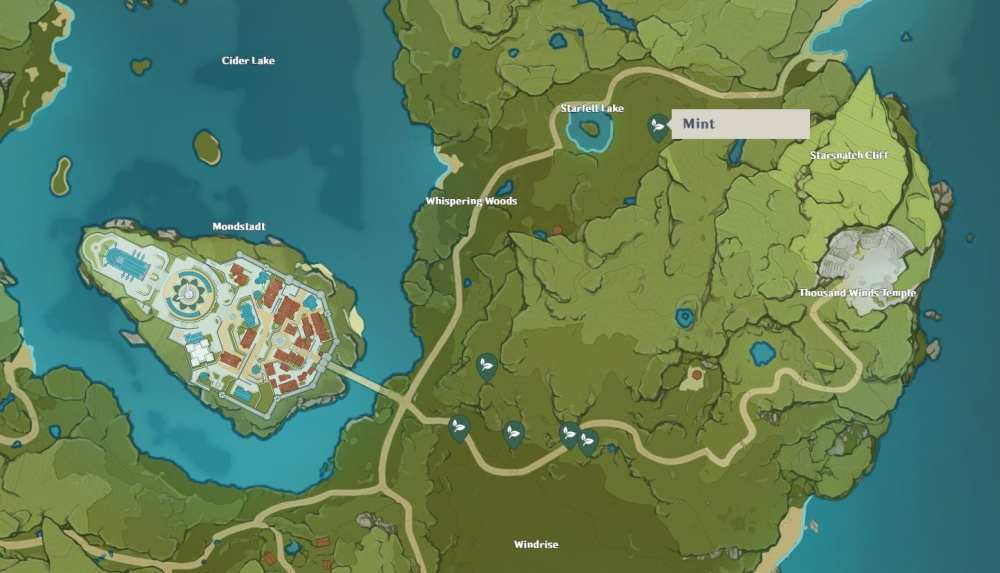Mapa de impacto de Mint Genshin