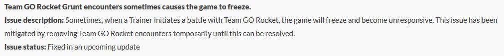 Error de cohete de Pokémon GO Team GO Helpshift