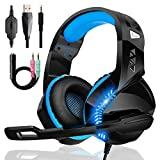 Auriculares para juegos para PS4 PS5 PC Xbox One con micrófono Supresión de ruido Estéreo Sonido envolvente Cómodo haz de cabeza Luz LED azul, para Nintendo Switch Laptop Mac Teléfono móvil Tableta