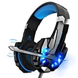 Auriculares para juegos Igrome con micrófono, sonido envolvente de graves estéreo, luz LED, azul