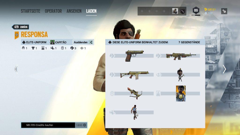 Complemento Rainbow Six Siege Elite Skins Capitao
