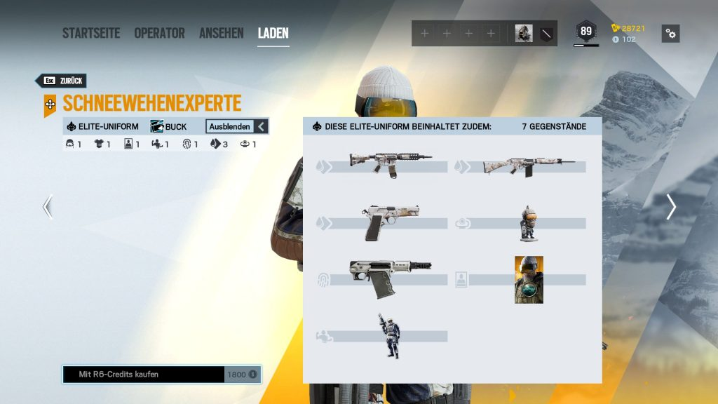 Complemento Rainbow Six Siege Elite Skins Buck
