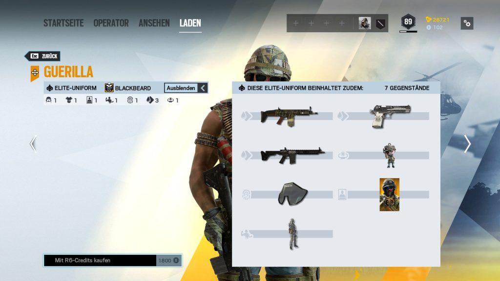 Complemento de Rainbow Six Siege Elite Skins Blackbeard