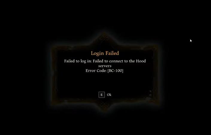 Hood Outlaws & Legends PC - Error al iniciar sesión - Código de error BC-100 - Cómo solucionar los problemas de conexión