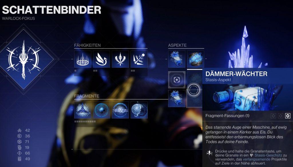 Crepúsculo Guardián Estasis Aspecto Brujo Destiny 2