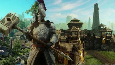 MMO New World muestra una región idílica con una poderosa fortaleza PvP