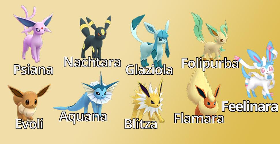 Descripción general de la familia Pokémon GO Eevee Feelinara
