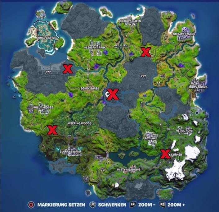 Mapa de artefactos alienígenas de Fortnite