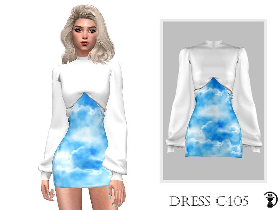 Sims 4 - Vestido C405 de turksimmer - 10 muestras Compatible con el mod HQ Funciona con todas las pieles Pegatina personalizada Nueva malla