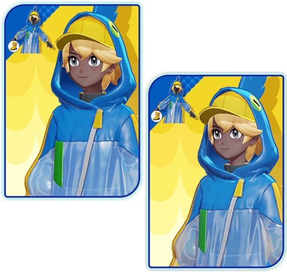 Comparación de la chaqueta azul Pokémon Unite Trainer