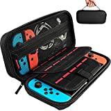 Hestia Goods Bag para Nintendo Switch, estuche rígido de transporte para Nintendo Switch, funda protectora con almacenamiento para 20 juegos, consolas y accesorios - Negro