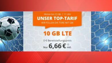 Contrato de teléfono móvil económico con 10 GB LTE por solo 6,66 euros al mes para el EM
