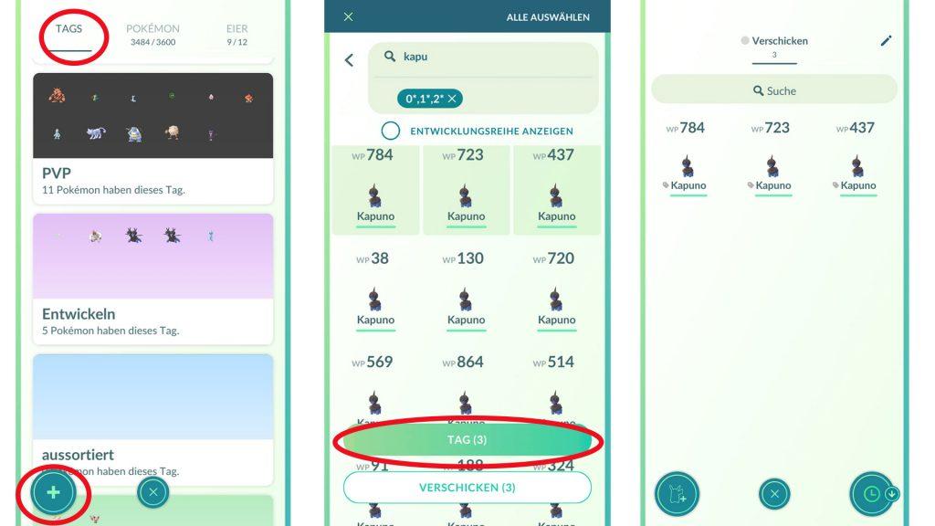 Etiquetas de Pokémon GO