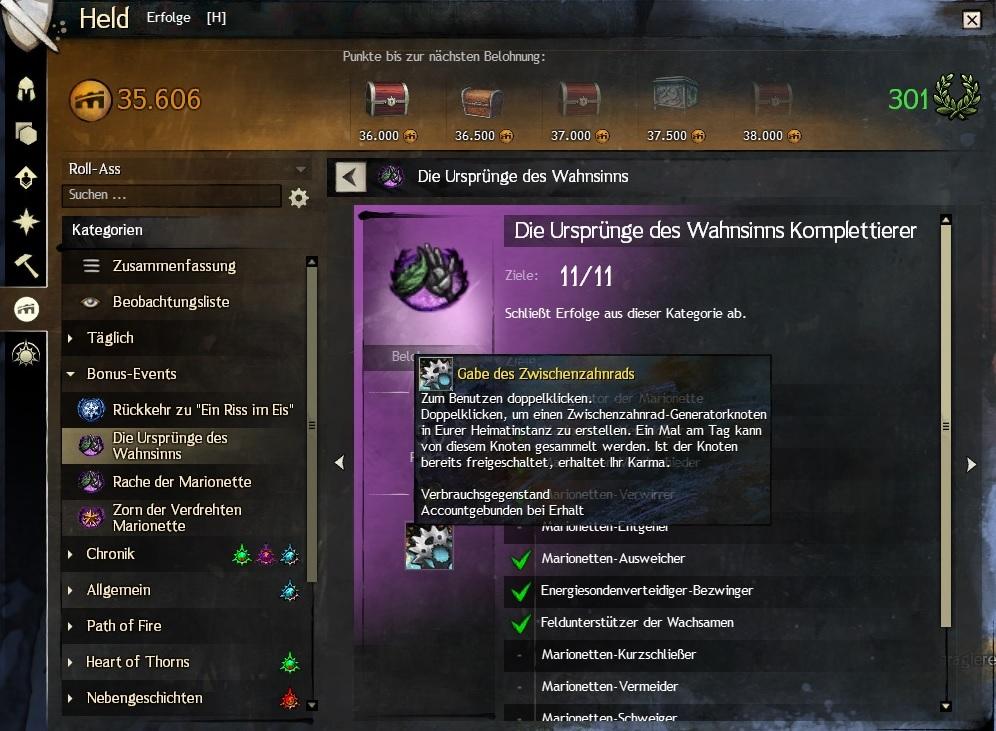 Logros de las marionetas de Guild Wars 2