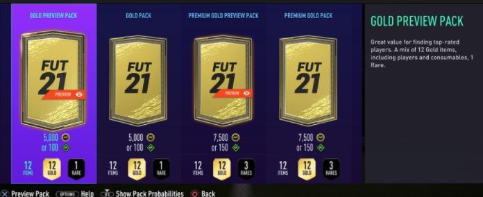 Paquetes de vista previa de FIFA 21
