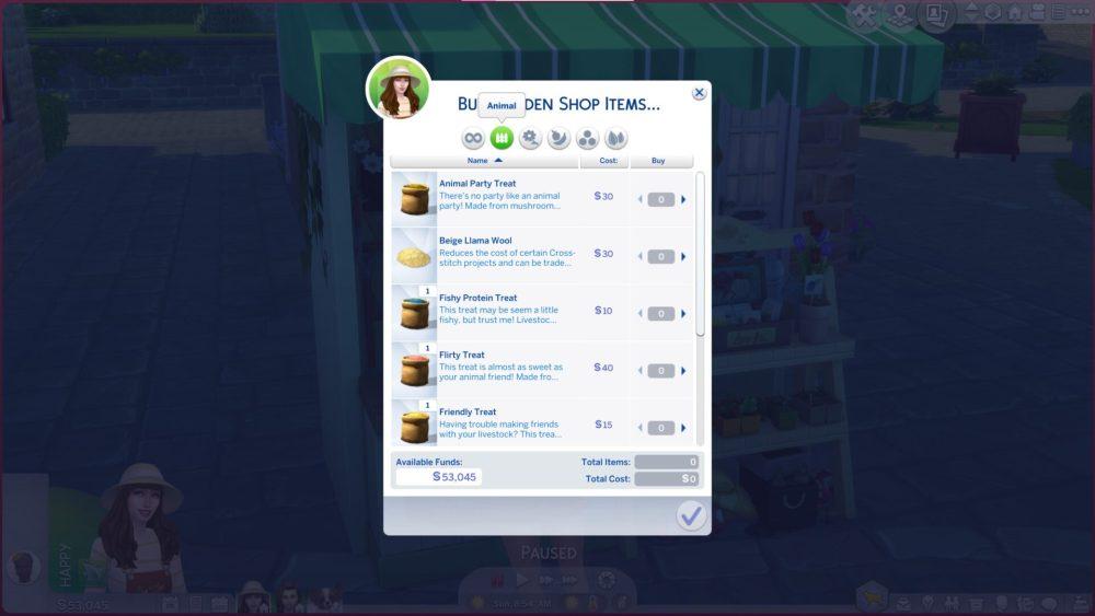 Sims 4 Comprar golosinas para mascotas