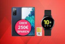 Galaxy S20 FE con tarifa en la red Telekom y reloj inteligente barato en Logitel