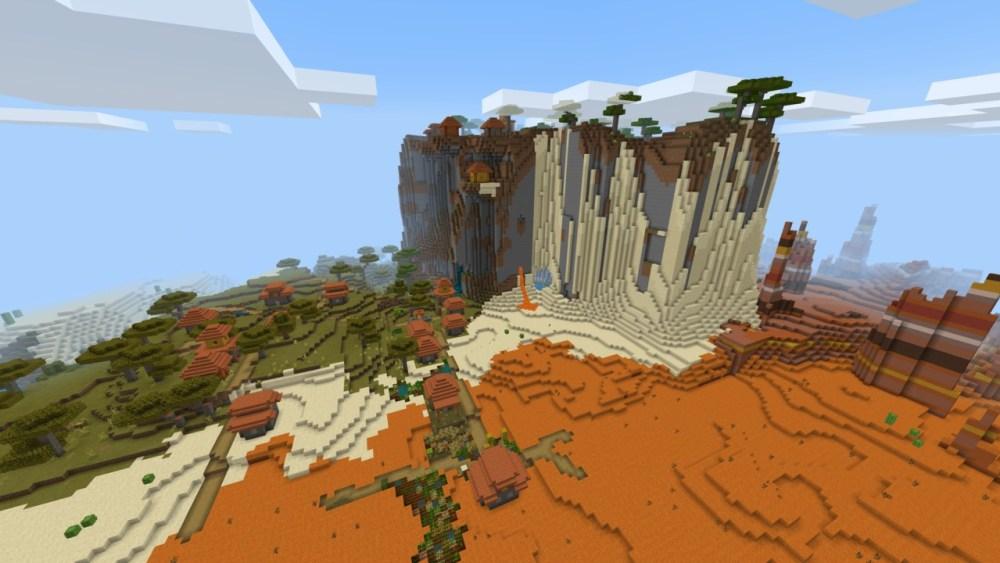 Minecraft 1.17 montañas junto al pueblo