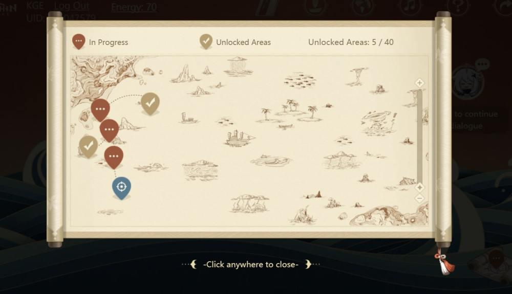 Carta náutica del misterioso viaje Genshin Impact