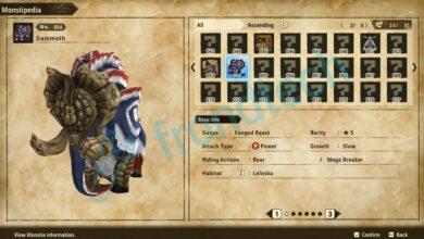Monster Hunter Stories 2 - Ubicación de Gammoth