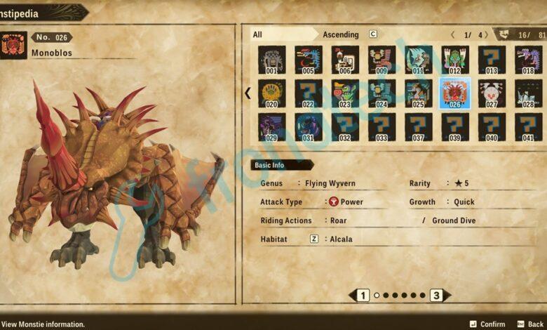 Monster Hunter Stories 2 - Ubicación de Monoblos