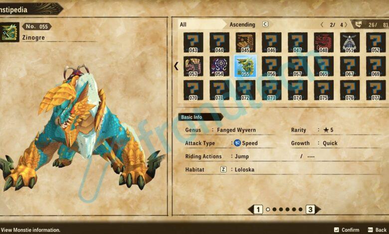 Monster Hunter Stories 2 - Ubicación de Zinogre