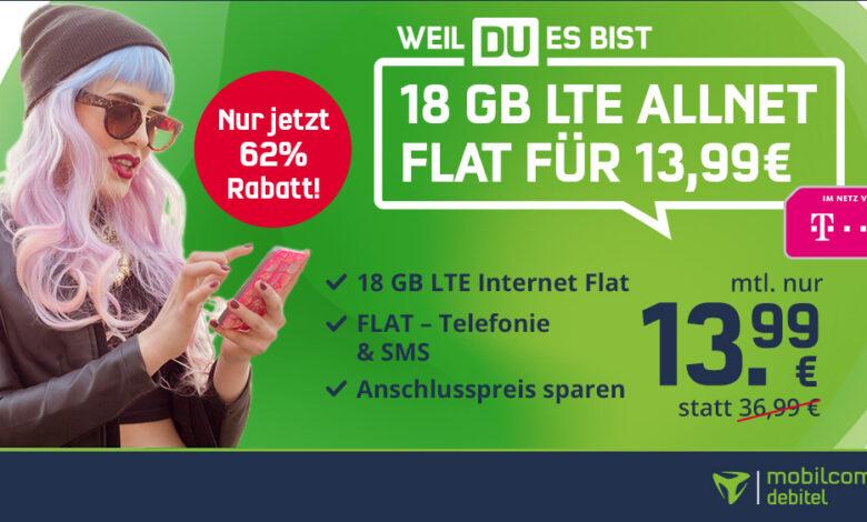 Última oportunidad: Telekom Allnet Flat LTE de 18 GB al mejor precio por solo 13,99