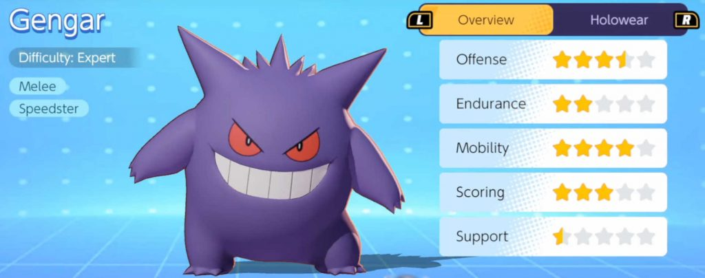 pokemon unite guía gengar - vista de menú