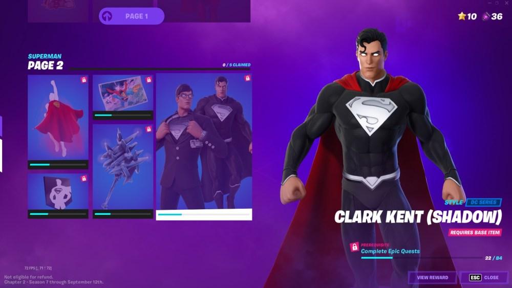 fortnite shadow clark kent y pieles de superman