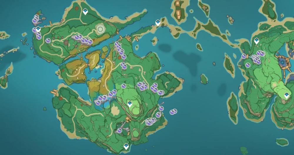 Mapa de médula de cristal de impacto de Genshin